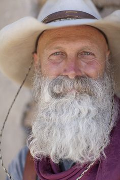 Cowboy With a Long White Beard......love his smiling eyes!