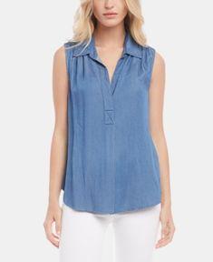 Karen Kane Shirred Sleeveless Chambray Shirt In Medium Blue Karen Kane, Tunic Tops, Shirts, Fashion Outfits, Womens Fashion, Clothes For Women, Medium, Nordstrom, Skirts