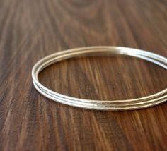 Set of 3 skinny silver bangles bracelets / by SilverLinesJewelry