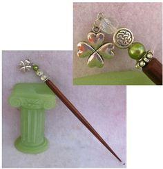 Silver Lucky Four Leaf Clover Charm Beaded Wooden Hair Stick  http://cgi.ebay.com/ws/eBayISAPI.dll?ViewItem=160991144574