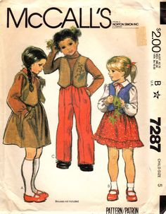 1970s McCall's 7287 Vintage Sewing Pattern Girls by midvalecottage