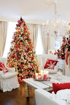 Seen in http://www.lushome.com/beautiful-christmas-decor-charming-old-fashioned-red-colors/129138