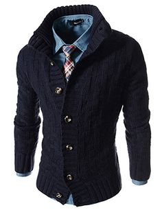 (JGA18-NAVY) Slim Fit Turtle Neck Knitted 7 Button Pattern Cardigan