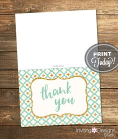 Thank You Card, Mint and Gold, Mint Green, Gold Glitter, Flowers, Geometric, Printable File (INSTANT DOWNLOAD) by InvitingDesignStudio on Etsy