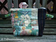 """""""Kaavamainen"""" quilted zipper pouch by Tilkunviilaaja -- Kaavamainen-vetoketjupussukka tilkuista"""