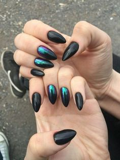 "If you're unfamiliar with nail trends and you hear the words ""coffin nails,"" what comes to mind? It's not nails with coffins drawn on them. Although, that would be a cute look for Halloween. It's long nails with a square tip, and the look has. Nail Art Designs, Black Nail Designs, Accent Nails, Holiday Nails, Christmas Nails, Hair And Nails, My Nails, Long Nails, Crome Nails"