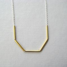 This is like a cooler version of straw necklaces I used to make as a lil kid. by Vintage Brass Necklace Vintage Brass Tube Sterling by juliegarland,