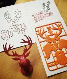 Christmas Reindeer kit card by printed cards 3d Printing Diy, 3d Printing Business, 3d Printing Service, 3d Printer Designs, 3d Printer Projects, 3d Design, 3 D, Stylo 3d, Diy 3d