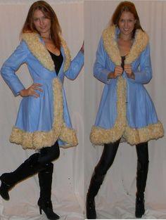 vintage leather coat 60s 70s sz S AMAZING blue leather curly lamb total princess coat. $475.00, via Etsy.