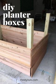Learn how to build DIY raised garden boxes for your vegetables & herbs. This tutorial will teach you how to create a DIY planter box or raised garden bed. Building Planter Boxes, Planter Box Plans, Raised Planter Boxes, Cedar Planter Box, Garden Planter Boxes, Outdoor Planters, Diy Planters, Diy Garden Table, Vegetable Planter Boxes