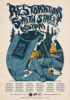 Restorations, The Smith Street Band, Astpai tour poster by Bruno Guerreiro, via Behance