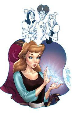 """""""Her Slipper"""" Featuring Cinderella, Lady Tremaine and Her Stepsisters by Artist J. Scott Campbell  - Wonderground Gallery"""