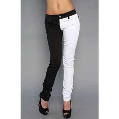 I found 'Jist Black & White Split Leg Women's Stretch Skinny Jeans' on Wish, check it out!