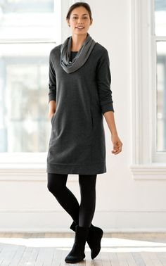 J. Jill - pure jill french terry seamed dress; ankle-length leggings; pure jill suede slouch booties; pure jill striped infinity scarf