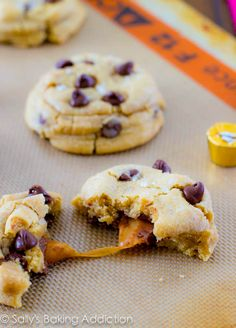 Favorite chewy, soft-baked chocolate chip cookies stuffed with caramel and topped with sea salt. Unbelievable!