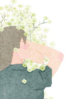 Bloom on Behance ~ xuan loc xuan Magazine Illustration, Illustration Art, Digital Art Photography, Couple Art, Beauty Art, Character Illustration, Cute Wallpapers, Art Tutorials, Art Girl
