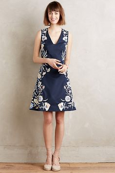 Anthropologie EU Bellflower Embroidered Dress, Blue