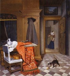 """""""Cornelis de Mann """" Cornelis de Man - Interior with a Woman Sweeping, 1666 Cornelis de Man added cats and dogs in the foreground of these Baroque paintings fighting over food or..."""