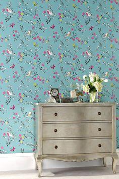 Teal Birds Wallpaper at Next, £15.