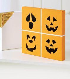 Pumpkin Face Four-Block Canvas