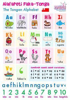 Alafapeti Faka-Tonga - The Tongan Alphabet Chart - size Tongan Culture, Baby Weeks, Alphabet Charts, A2 Size, Father's Day Diy, Wonderful Picture, Gsm Paper, Rubrics, Kids Learning