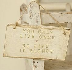 Live Blonde Handmade Sign by Abigail Bryans Designs, the perfect gift for Explore more unique gifts in our curated marketplace. Blonde Quotes, Hair Quotes, Blonde Humor, Favorite Quotes, Best Quotes, Blonde Babies, Blonde Moments, Ad Hoc, Painted Signs