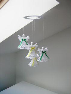 Christmas angel decoration. Christmas mobile. Christening Wedding mobile. Baby mobile. White crochet angel. Christmas gift