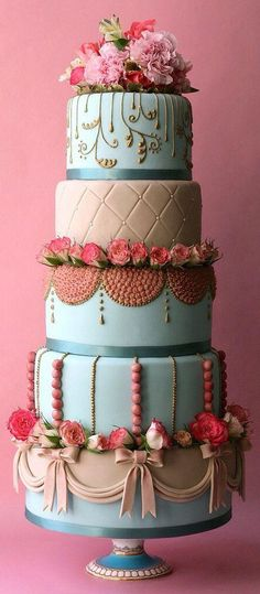 "Tiered Cake in Pink, Cream, & Aquamarine with Fresh Sweetheart Roses by Olofson Design - Cake art & design specializing in bespoke luxury wedding cakes which ""stand out from the crowd."" / http://www.olofsondesign.com"
