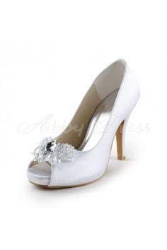 Satin Stiletto Heel Platform, Pumps Women's Shoes White Wedding Shoes - Abbydress.com