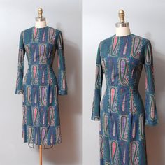 1950s Dress  Green Paisley Print 50s Wiggle by OldFaithfulVintage, $50.00
