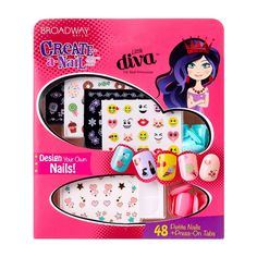 Step up your nail design game with the Broadway Nails Create-a-Nail Art Kit, with press-on nails and over 250 nail stickers so you can create truly unique looks. Short Nail Designs, Nail Designs Spring, Nail Art Designs, Nails For Kids, Fun Nails, Broadway Nails, Makeup For Moms, Kids Makeup, Stick On Nails