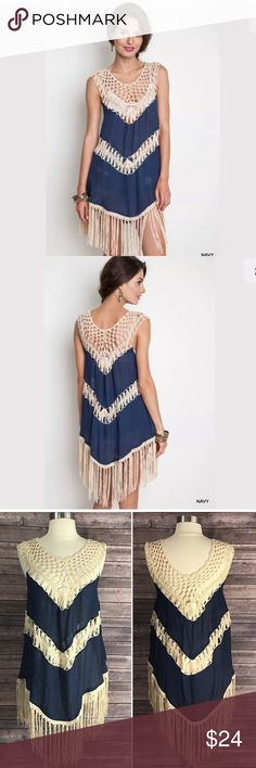 Umgee Tunic Dress Crochet Fringe Boho Style Hippy New Umgee Womens Tunic Dress Navy Blue Crochet Fringe Boho Style Hippy S M L. See photos for size chart. Umgee Dresses