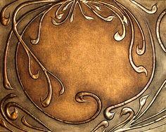 Copper Art Nouveau style-hot glue and faux copper Motifs Art Nouveau, Design Art Nouveau, Motif Art Deco, Feuille Aluminium Art, Hot Glue Art, Jugendstil Design, Metal Embossing, Inspiration Art, Gun Art