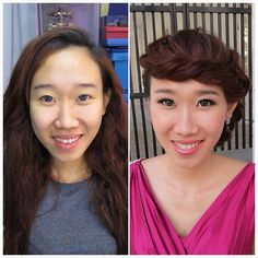 Pre-wedding photography makeup & hairdo, before & after. Bride of the day: Charmaine