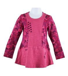 embroidered pieced feather floral tunic in mauve