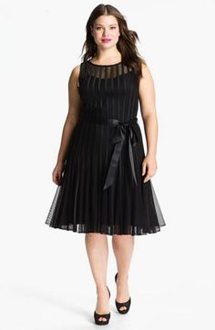 Sleeveless Satin Stripe Mesh Dress (Plus)