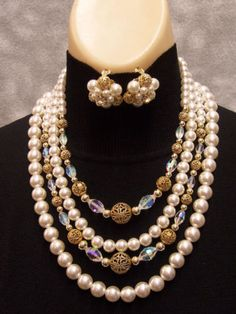 Faux Pearl & Goldtone Filigree Bead 4 Strand Necklace & Clip Earrings