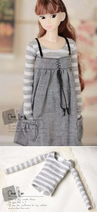 Clear lan | doll clothes <--- Gray and white striped long sleeve shirt. 27cm (m)