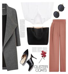 """Duster Coats"" by soranamikaze ❤ liked on Polyvore featuring Yves Saint Laurent, Topshop, Miss Selfridge, contestentry, polyvorecontest, polyvorefashion, polyvoreset and DusterCoats"