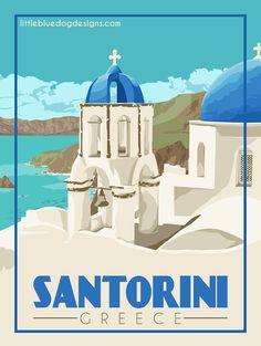 © 2021 Little Blue Dog Designs Capri Italy, Zoom Call, Blue Dog, Santorini Greece, Rest Of The World, Vintage Travel Posters, Greek Islands, Dog Design, Color Themes