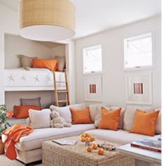 Citrus-beachy-snugglefest. coastalliving.com    Love the bunkbed seats in the background! Want this room for my future theater!