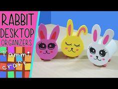 Rabbit Desktop Organizers - Tutorial - From toilet rolls to cute rabbits - YouTube
