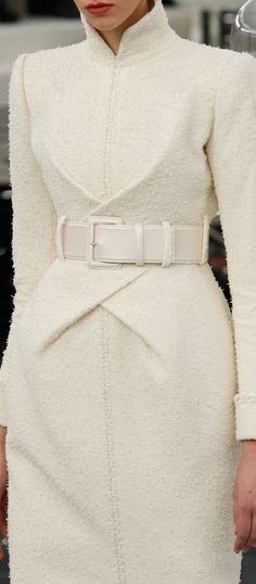 A killer white coat  from the Chanel Couture Spring 2017