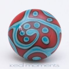 Lapel pin  Helix  red and copper green  lampwork by IcedMoments, $15.00