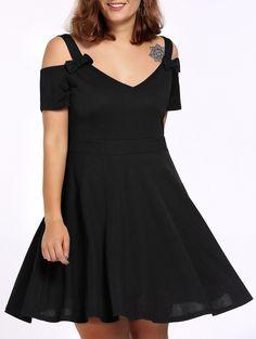 Women's Alluring Bowknot Embellished Cold Shoulder Dress