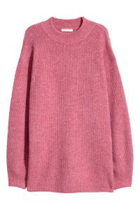 Check this out! Longer sweater in a soft, rib knit with wool content. Low dropped shoulders and long, wide sleeves. Ribbing at neckline, cuffs, and hem. - Visit hm.com to see more.