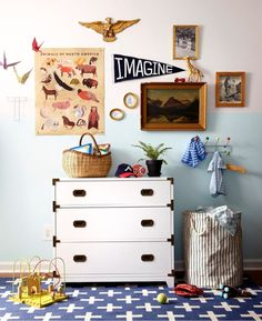 Eclectic, collected nursery design - featuring a fab campaign dresser from @The Land of Nod