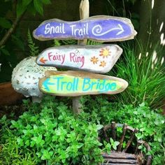 Fairy garden signpost painted signs fairy ring, Snail trail, Troll bridge on a rustic sign post
