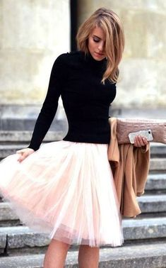 trendy valentines day outfit idea / black high nack top + coat + blush skirt