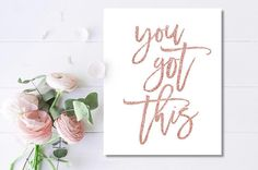 Rose Gold Lettering You Got This Office Wall Art Faux Rose